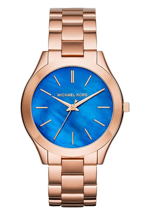 Michael Kors Slim Runway Blue Gold Plated By Malabar Watches