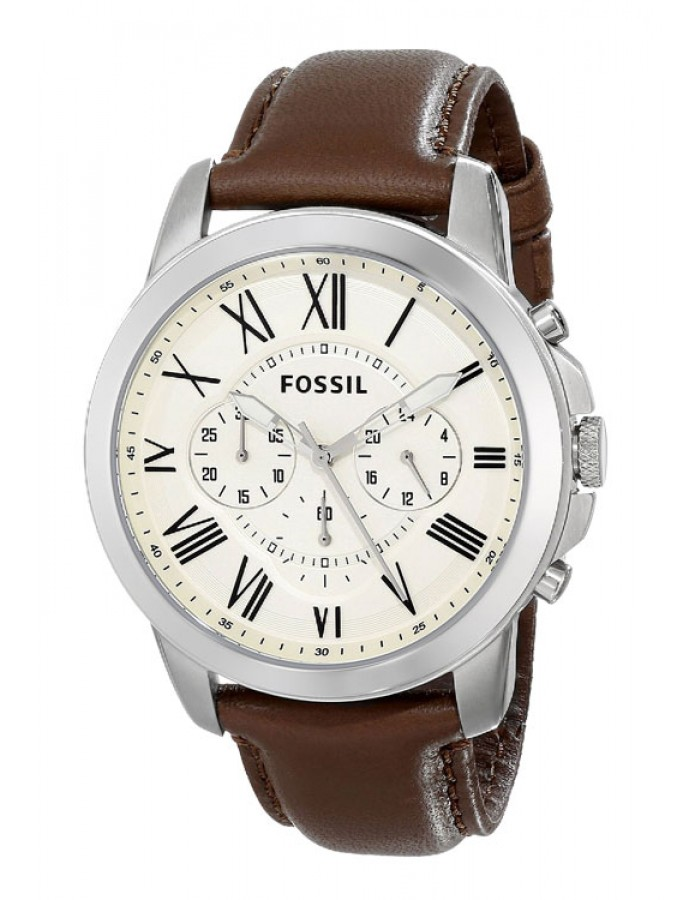 Fossil Grant Leather Ivory By Malabar Watches
