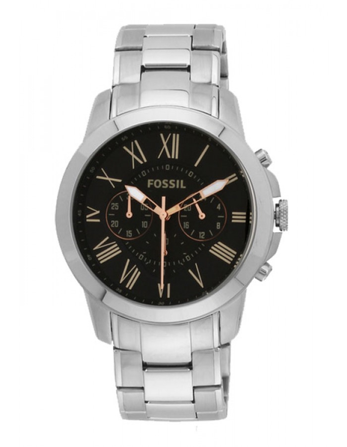 Fossil Grant Steel Black By Malabar Watches