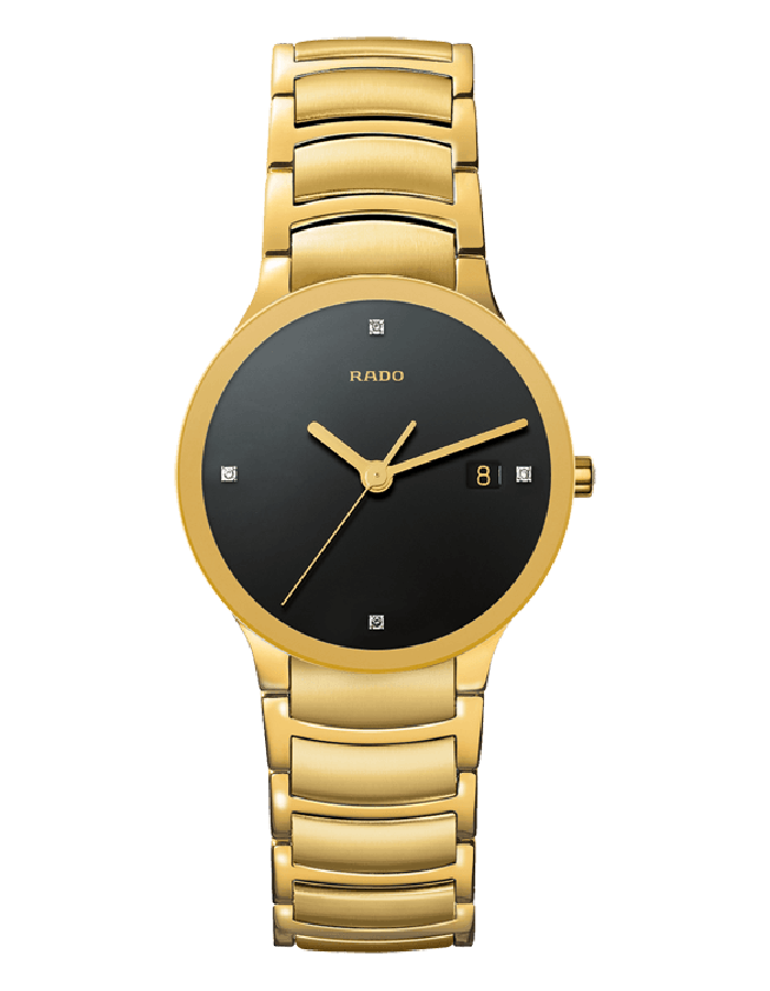 Rado Centrix Black Gold Plated By Malabar Watches